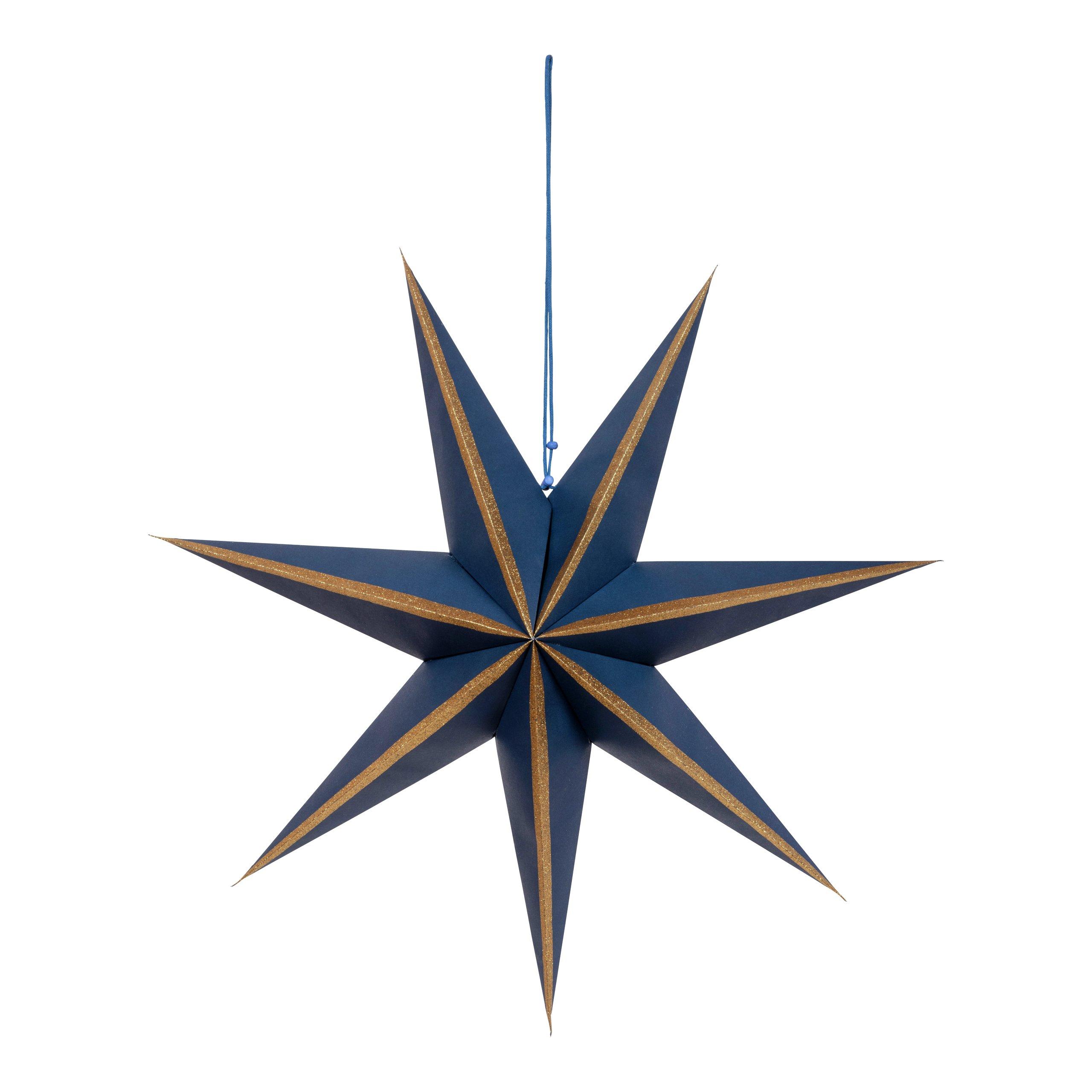 GULLSTRIPE PAPIRSTJERNE BLÅ 7 ARMER Ø:60CM-102372