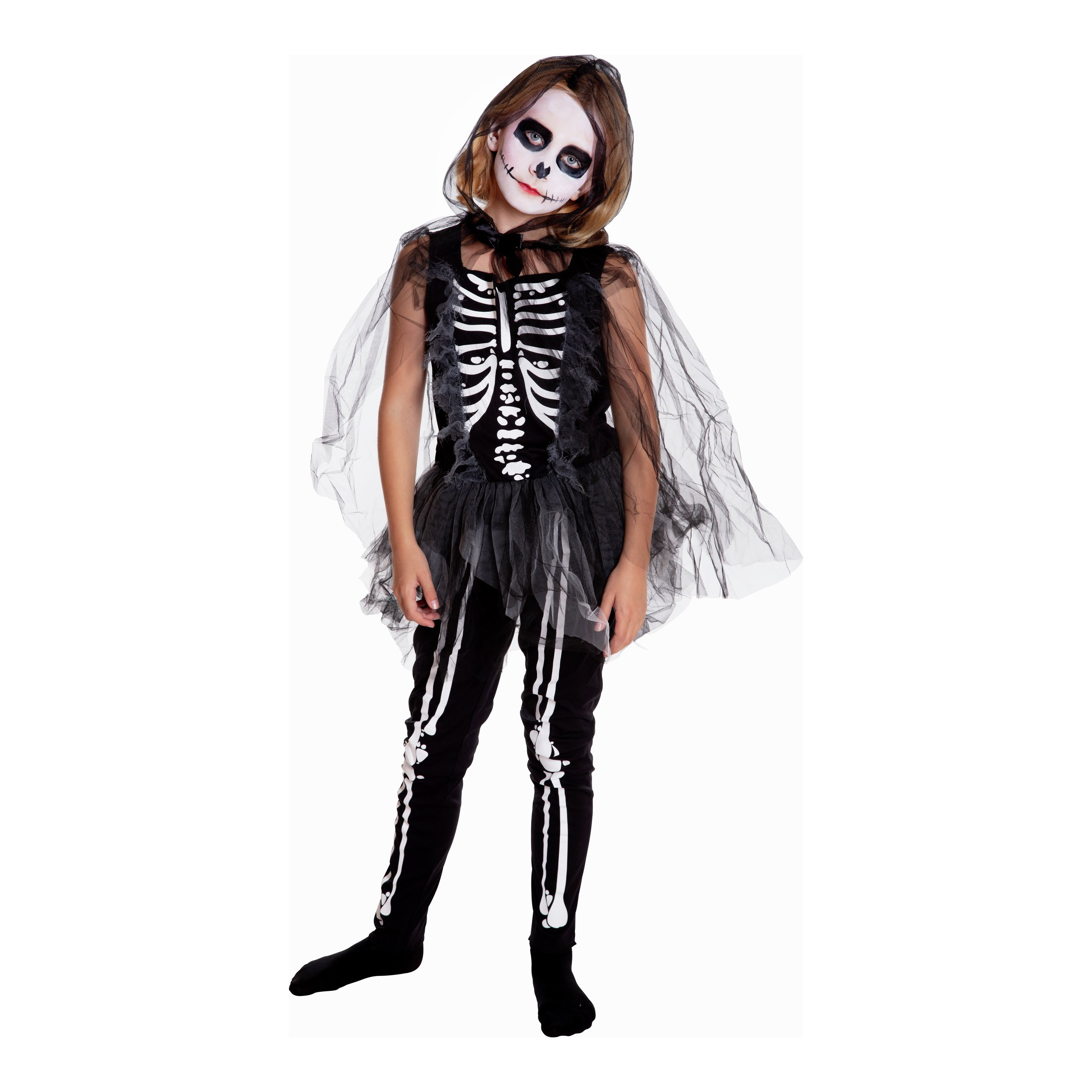 KOSTYME HALLOWEEN SKJELETT KJOLE/TIGHTS 130-140-102545