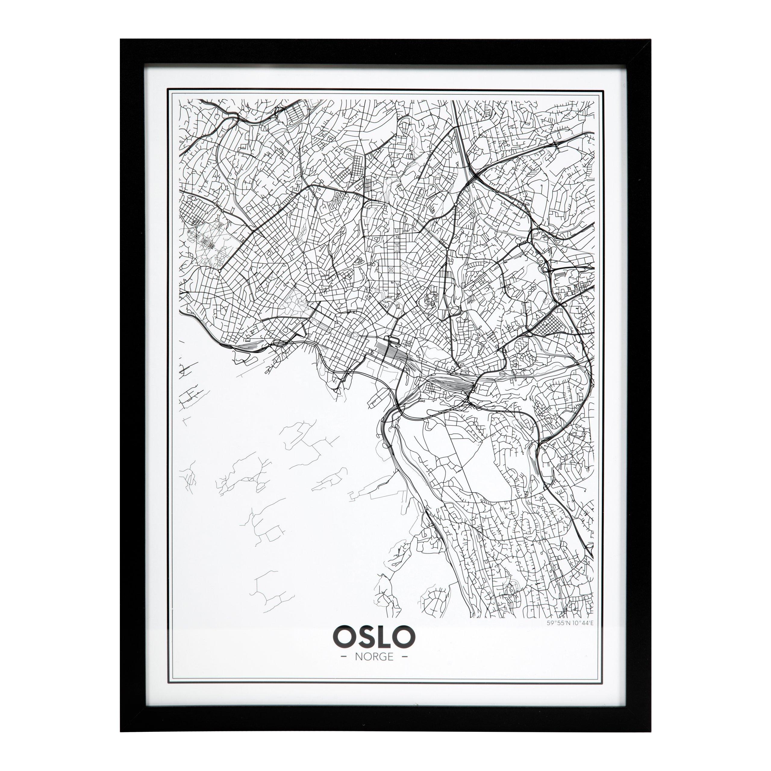 BILDE OSLO BY 30X40CM SORT TRE-105490