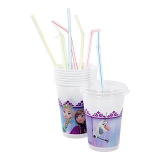 Plastkopper med lokk og sugerør-BUR2005