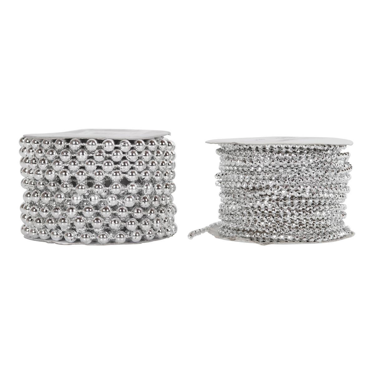 Dekorbånd sølvperler-JUL1257