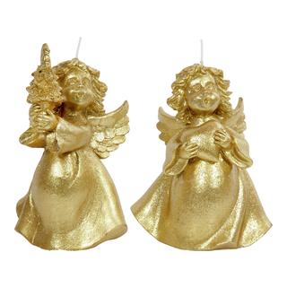 Figurlys i gull, engel med hjerte eller tre